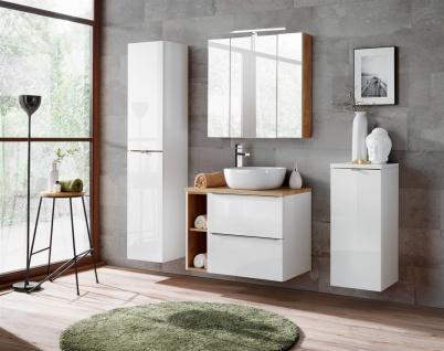 Badmöbel Set 6-tlg Badezimmerset PERUGIA Weiss Set.1 ohne Waschbecken