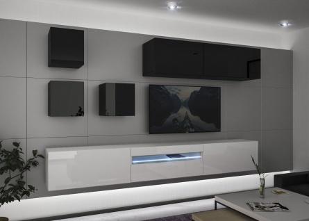 Mediawand Wohnwand 8 tlg - NEXI 10 - Weiss- Schwarz Hochglanz inkl.LED