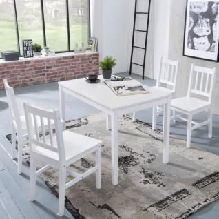 Tischgruppe BREMEN Kiefer massiv Weiß 1 Tisch 70x70 und 4 Stühle