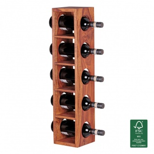 Weinregal Flaschenregal 70 cm für 5 Flaschen Massiv-Holz Sheesham