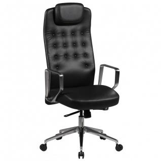 Drehstuhl Bürostuhl Chefsessel GRANADA -Echtleder Schwarz