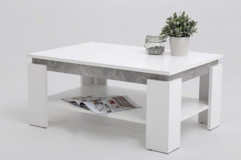 Couchtisch TIMO 2- 90x60 cm mit Ablageboden Weiss / Beton