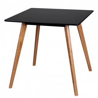 Esstisch Tisch - ELMAR - Vierfußtisch 80x80 cm MDF Schwarz Matt /Eiche
