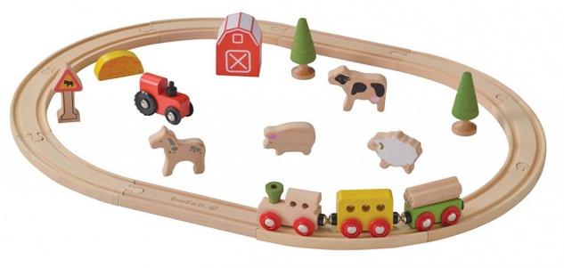 Holzspielzeug - Eisenbahn-Set Bauernhof