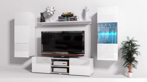 Mediawand Wohnwand 4 tlg - Konzept 32 - Weiss Hochglanz +LED
