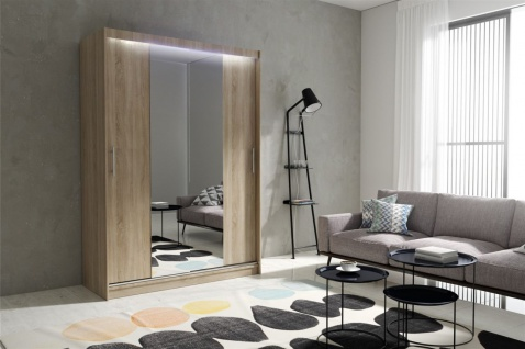 Schiebetürenschrank Schrank DOLM 04 Sonoma matt 150x215 cm inkl.LED