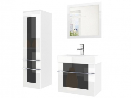 Badmöbel Set 3-tlg DAWINO Set.2 Weiss-Schwarz inkl.Waschtisch 50 cm