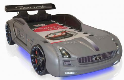 Autobett Kinderbett - Knight Rider XL - Silbergrau inkl.Beleuchtung