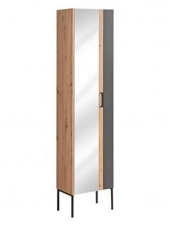 Badezimmer Hochschrank 170x45x30 cm PANTIN Grau mit Spiegel