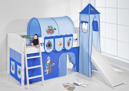 Spielbett mit Rutsche, Turm, Vorhang -LANDI/S -Pirat Blau -Kiefer Weiss