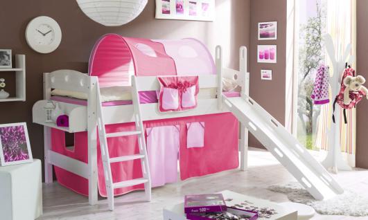 Hochbett COLIN R mit Rutsche Buche Weiss + Vorhang Rosa/ Pink