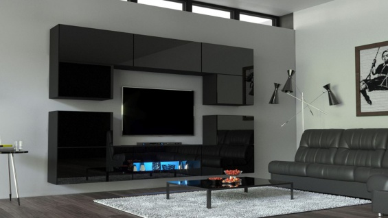 Mediawand Wohnwand 10 tlg - SENOX 2 - Schwarz Hochglanz inkl.LED