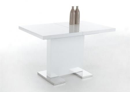 Esstisch Säulentisch BIRGA 120-160x80 cm Hochglanz Weiss