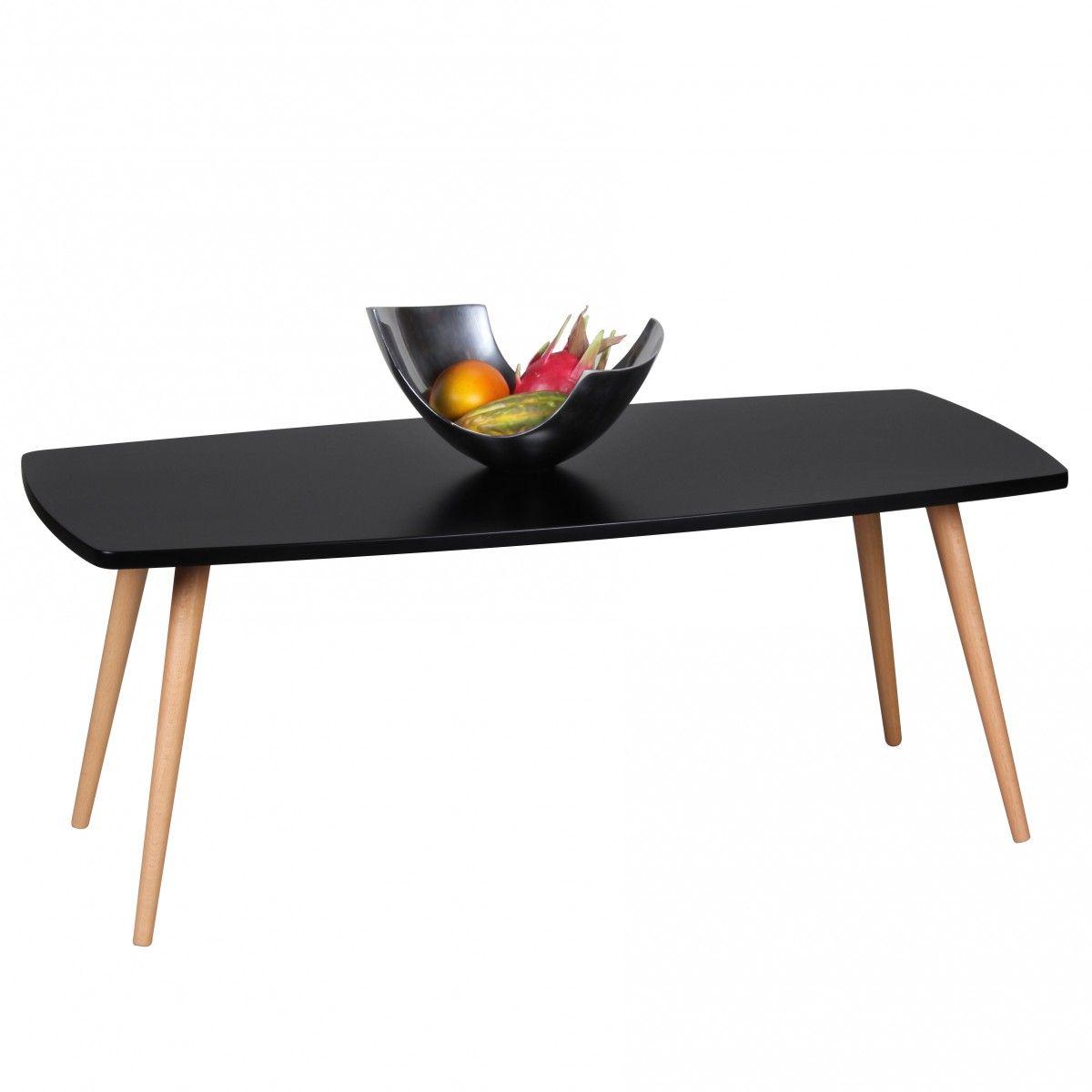 Couchtisch Beistelltisch - DAGNY - 110x50 cm Schwarz matt Buche massiv