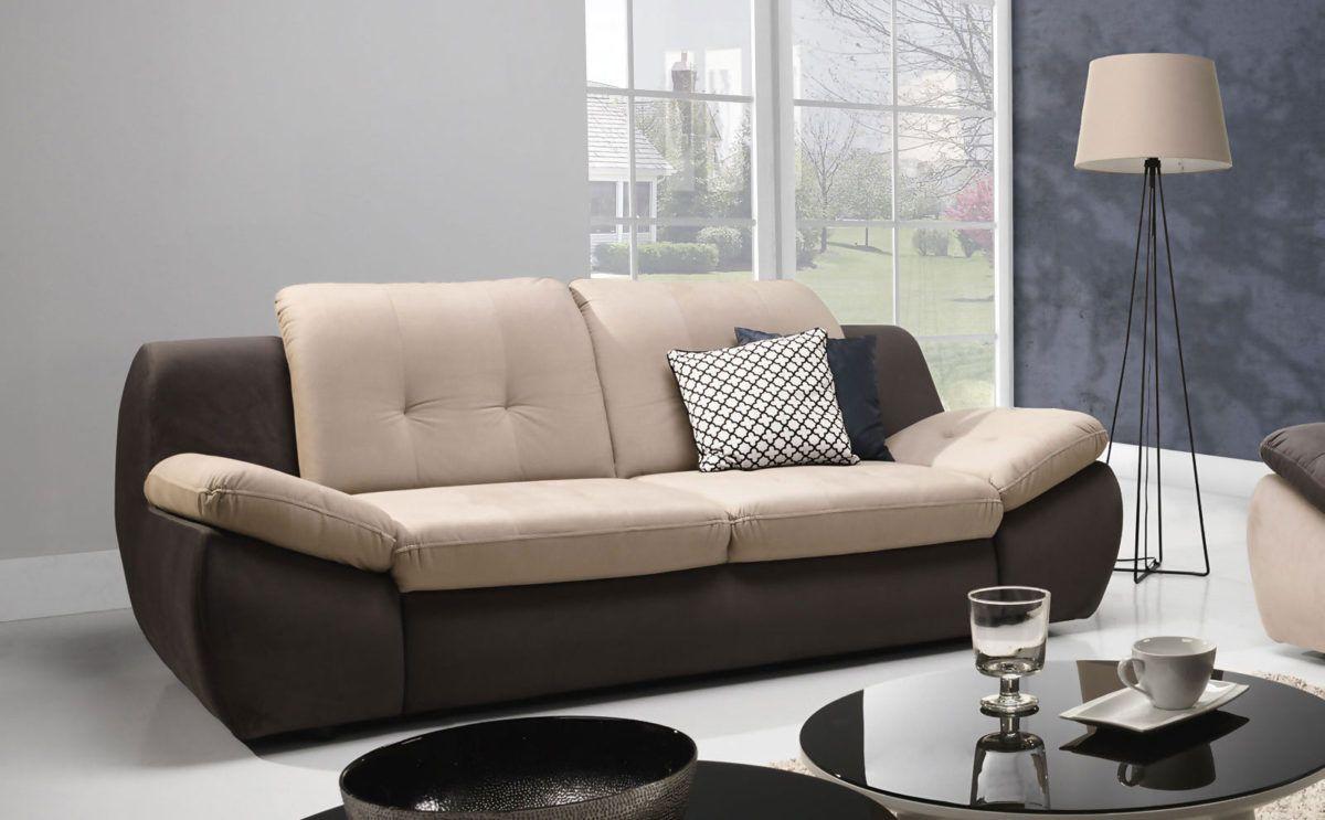 Sofa 3-Sitzer PEDRO Polyesterstoff Braun / Beige 205x84x113 cm ...
