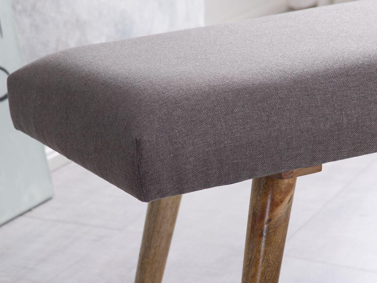 sitzbank bank sabo massivholz stoff grau 117x38x51cm. Black Bedroom Furniture Sets. Home Design Ideas