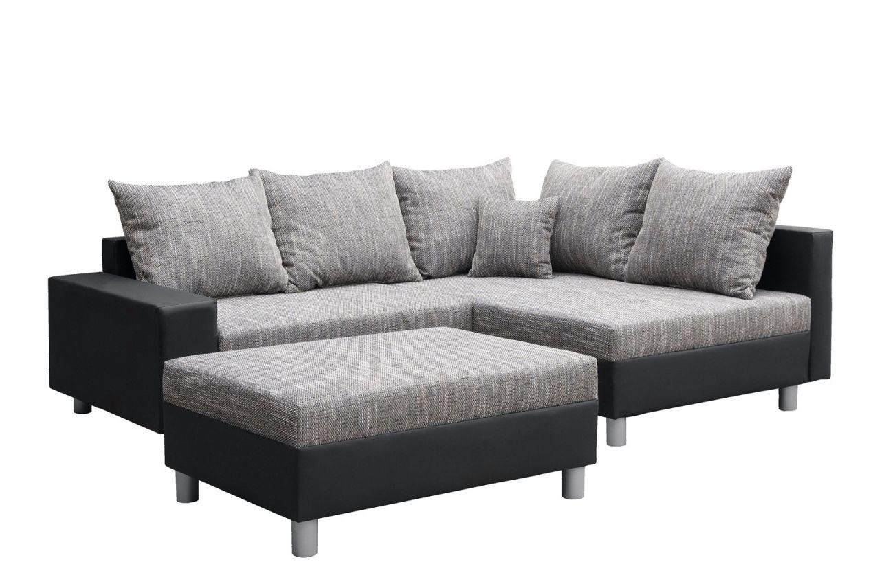 Astounding Couchgarnitur L Form Galerie Von Allegra L-form Schwarz-grau Inkl.hocker/ausführung Rechts 1