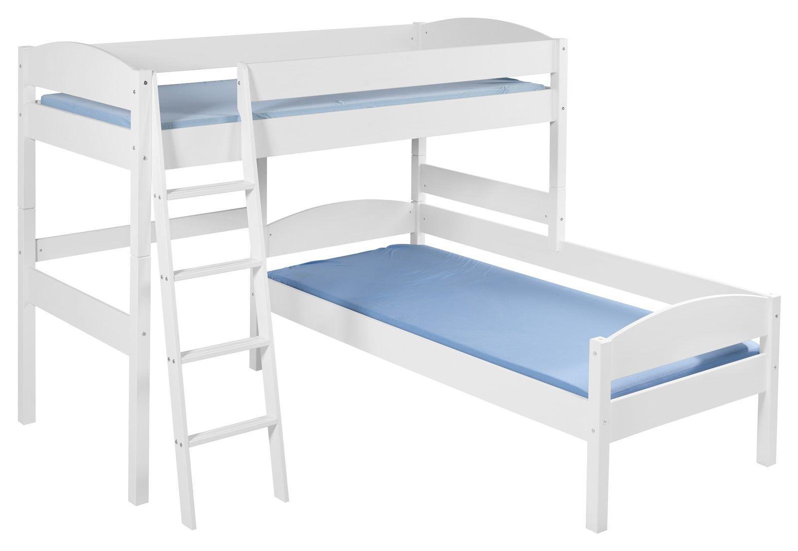 hochbett etagenbett l bett marti kiefer weiss inkl 2 x rollrost kaufen bei sylwia. Black Bedroom Furniture Sets. Home Design Ideas