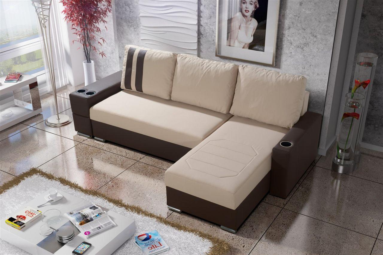 Ecksofa Sofa KNOX XL mit Schlaffunktion Braun / Beige Ottomane ...