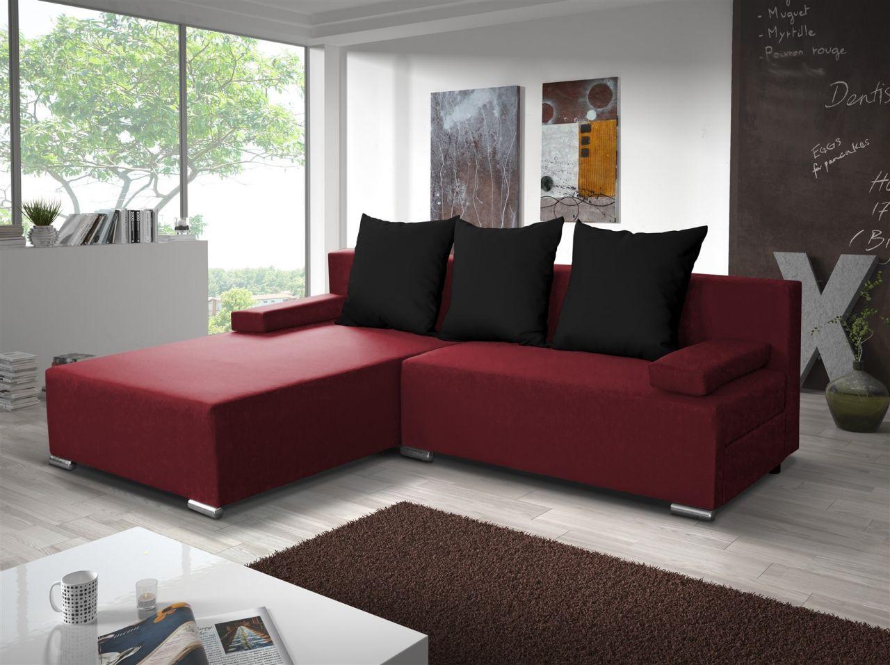ecksofa sofa lucy mit schlaffunktion rot schwarz. Black Bedroom Furniture Sets. Home Design Ideas