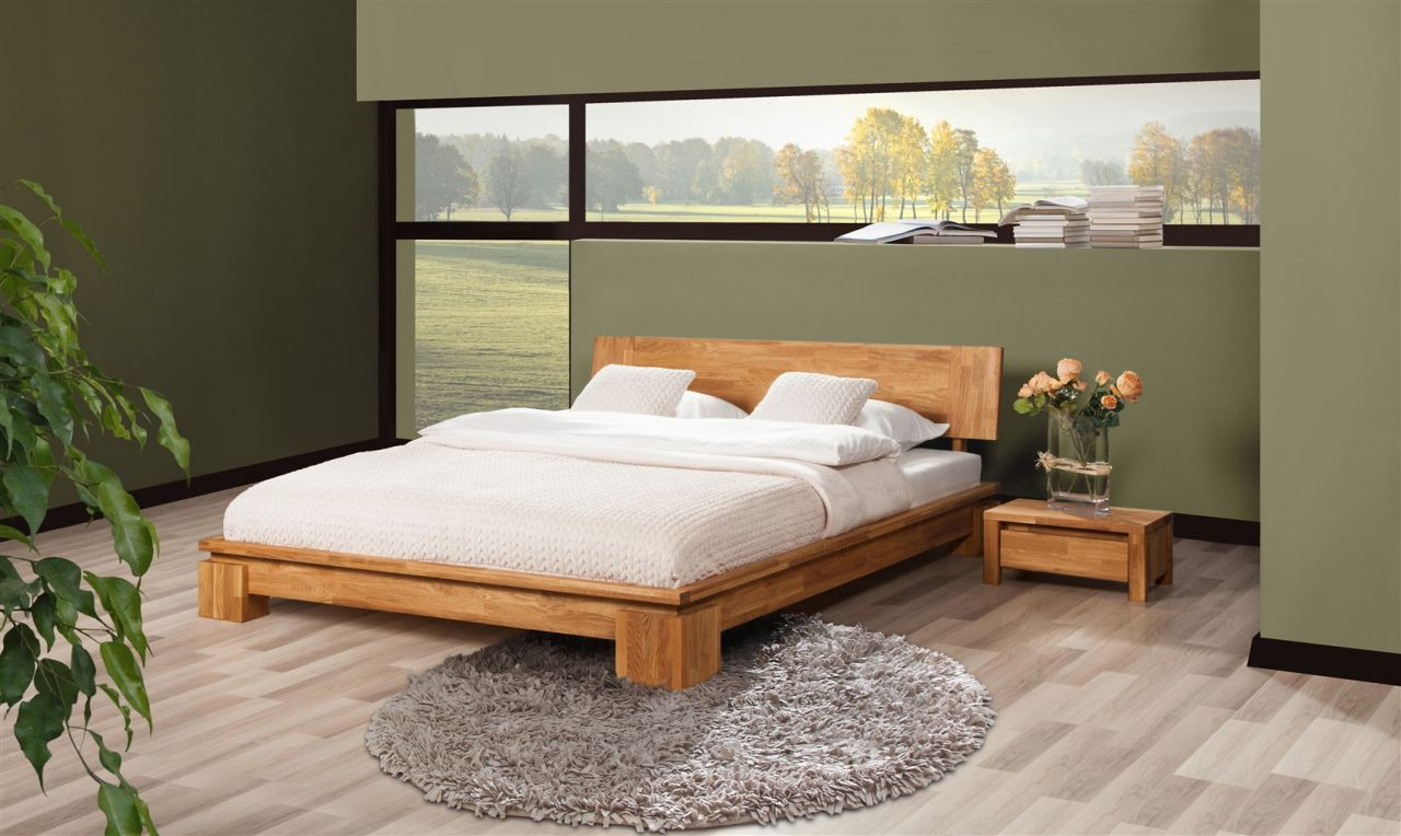 Massivholzbett Bett Schlafzimmerbet Maison Eiche Massiv 200x200 Cm