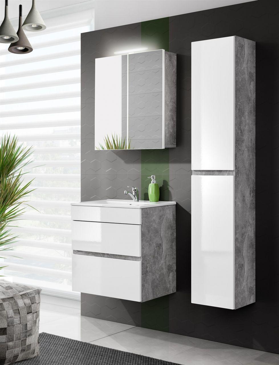 Badezimmer Set | Badmobel 3 Tlg Badezimmerset Teli 2 Beton Weiss Inkl Waschtisch
