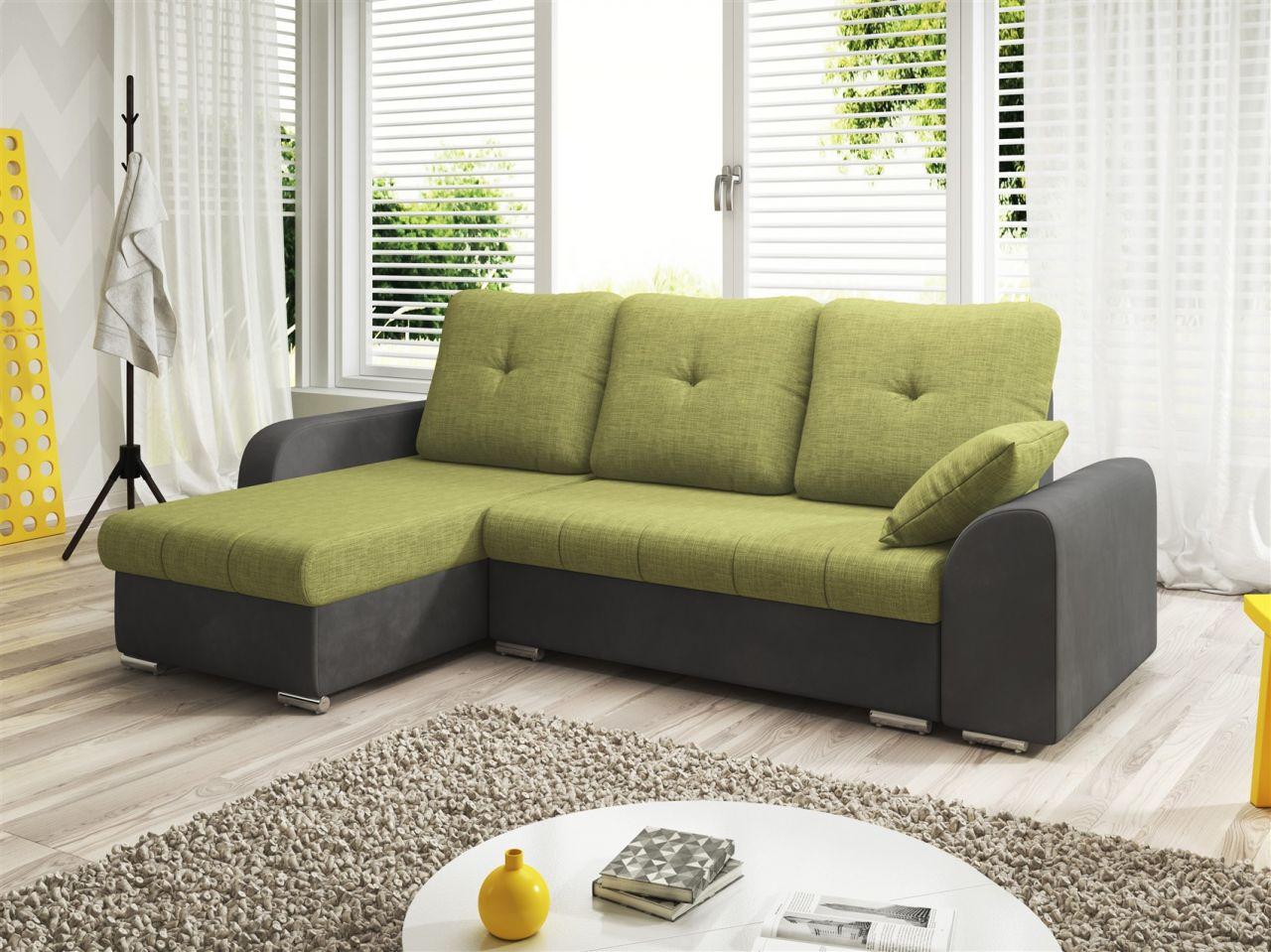 ecksofa sofa dekos mit schlaffunktion grau olivgr n. Black Bedroom Furniture Sets. Home Design Ideas