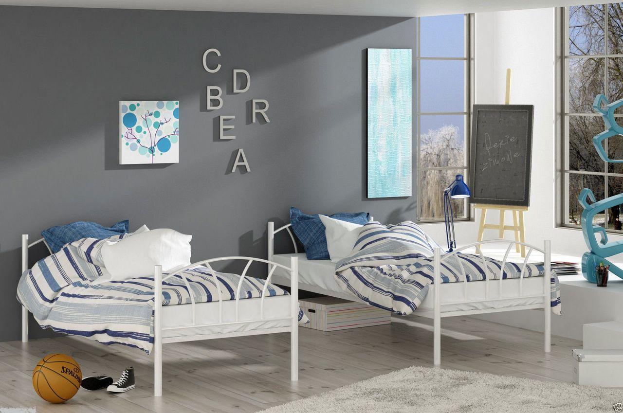 Metallbett Etagenbett : Metallbett lady weiß hochbett in zwei einzelbetten teilbar