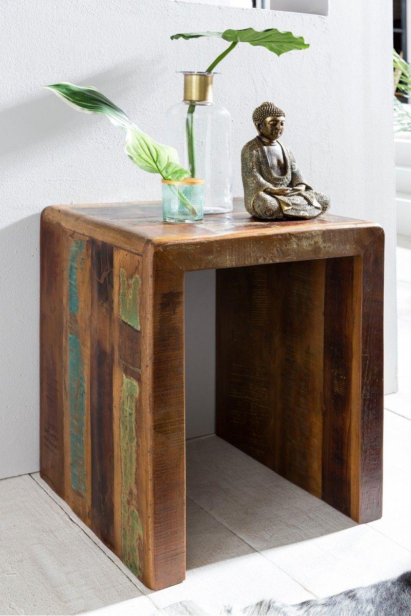 Beistelltisch Nachttisch SURAT 45x40cm Holz Mango Shabby-Chic ...