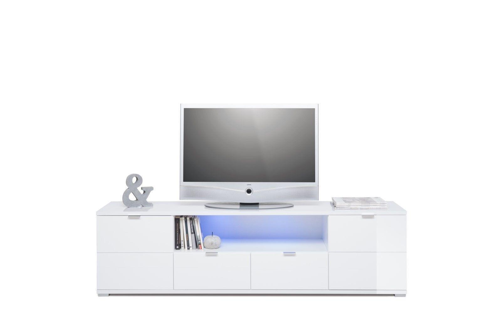 tv board lowboard shine hochglanz weiss inkl beleuchtung 180cm kaufen bei sylwia. Black Bedroom Furniture Sets. Home Design Ideas