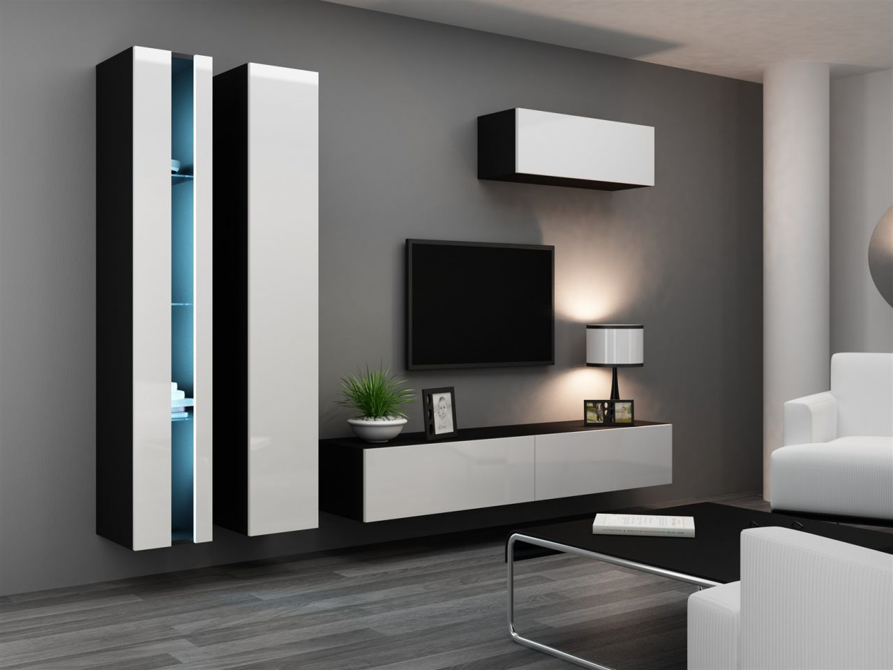 mediawand wohnwand 4 tlg sentic 1 schwarz weiss. Black Bedroom Furniture Sets. Home Design Ideas