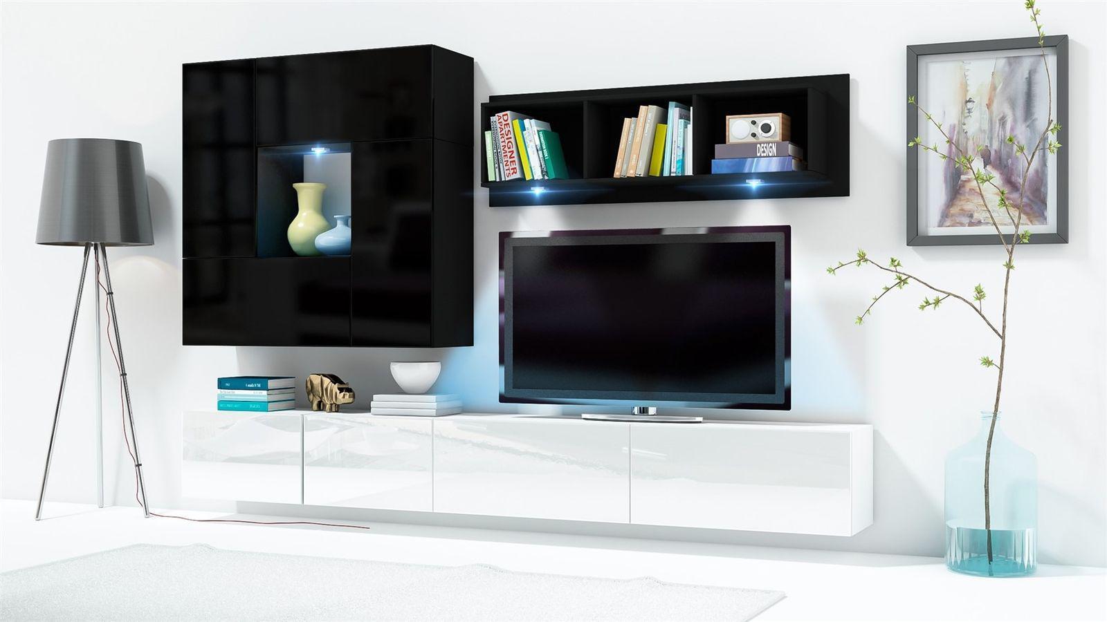 Wohnwande Design Konzept : Mediawand wohnwand tlg konzept weiss schwarz hgl mit led