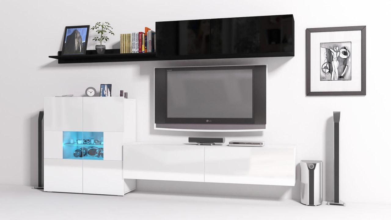 Mediawand Wohnwand 6 Tlg   Konzept 10   Weiss / Schwarz HGL + LED 1 ...