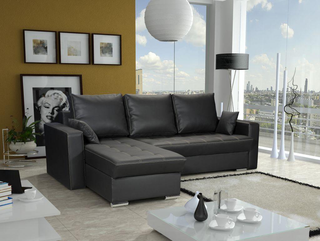 ecksofa sofa adara mit schlaffunktion kunstleder schwarz otto links kaufen bei sylwia. Black Bedroom Furniture Sets. Home Design Ideas