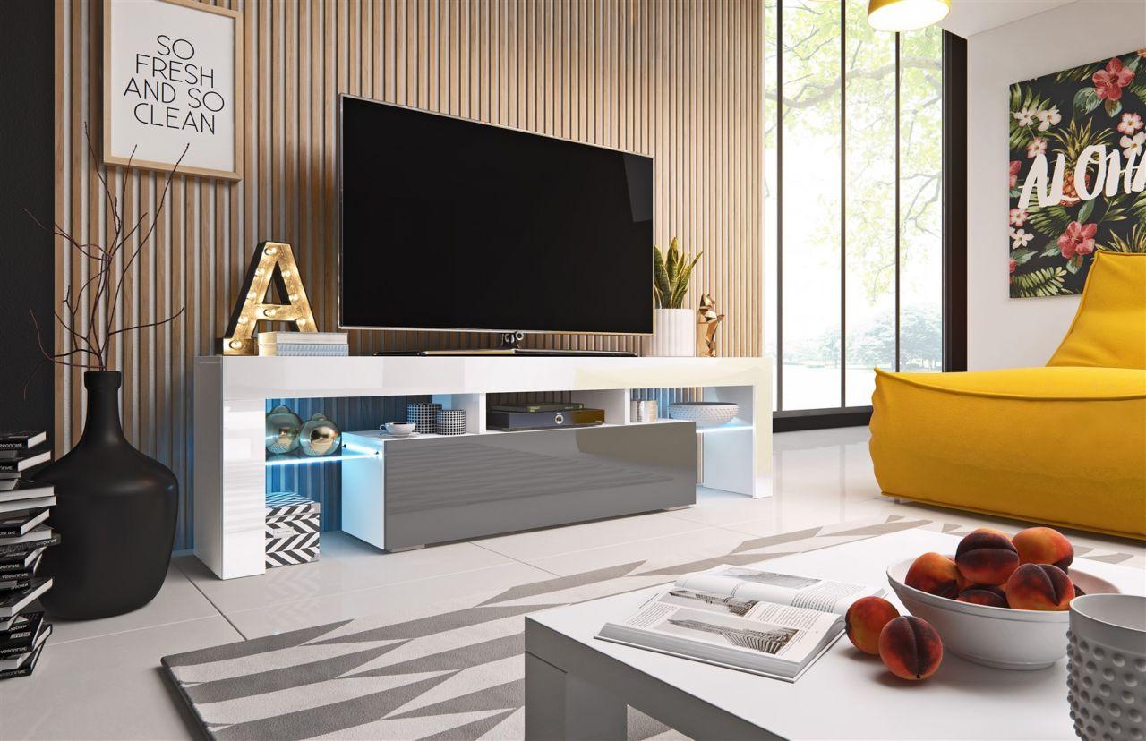 tv board lowboard toris weiss grau hochglanz 158cm. Black Bedroom Furniture Sets. Home Design Ideas