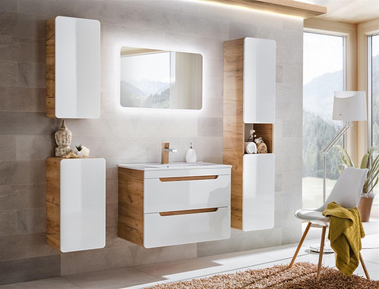 Badmöbel Set 10-tlg Badezimmerset FERMO Weiss HGL inkl.Waschtisch 10cm