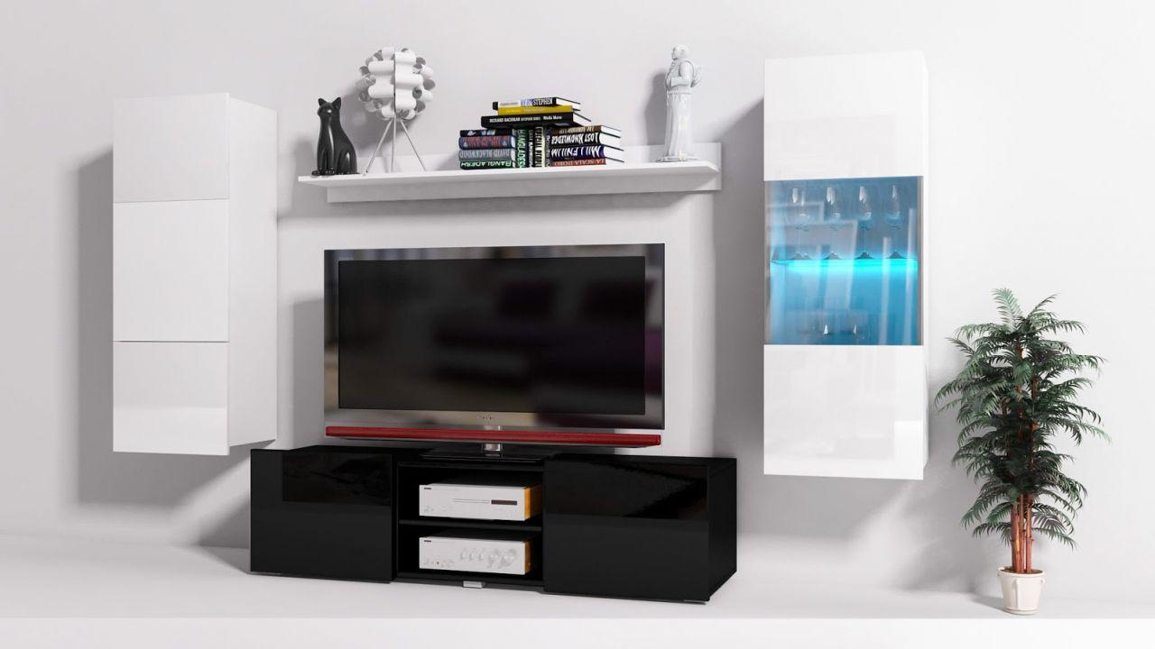 mediawand wohnwand 4 tlg konzept 32 schwarz weiss. Black Bedroom Furniture Sets. Home Design Ideas