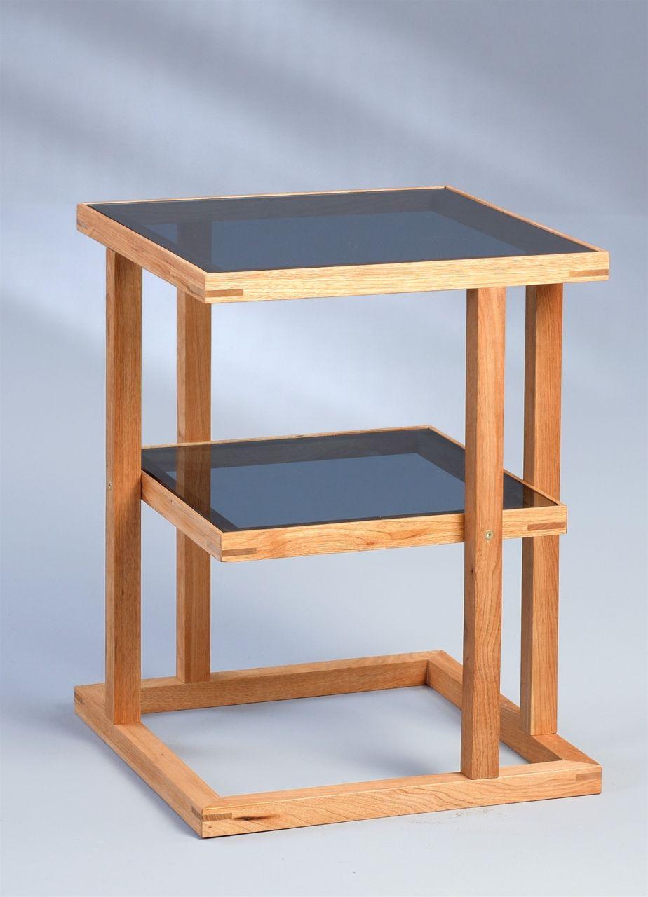 Beistelltisch Tisch Suma2 45x45 Cm Walnuss Massiv Geölt Esg Glas