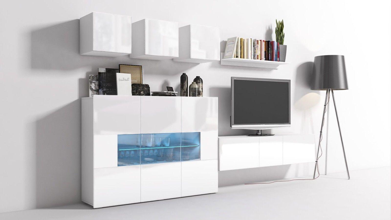 ... Mediawand Wohnwand 8 Tlg   Konzept 7   Weiss HGL Mit LED Beleuchtung 3