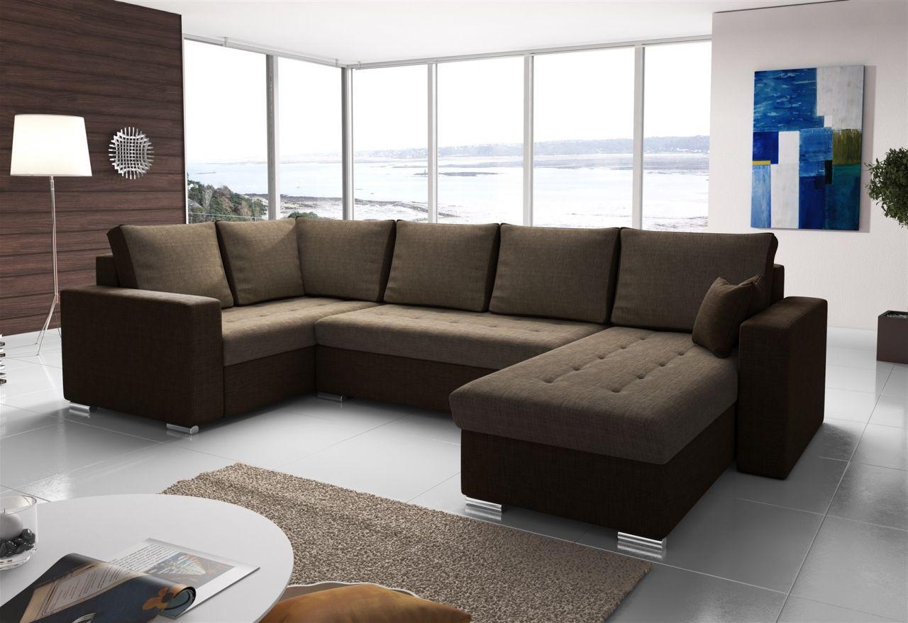 Couchgarnitur Fano Mit Schlaffunktion Ottorechts Braun Kaufen