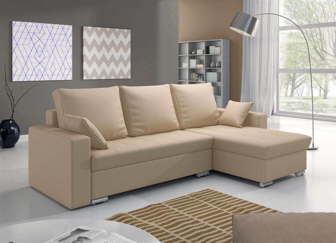 ecksofa sofa adara mit schlaffunktion kunstleder creme. Black Bedroom Furniture Sets. Home Design Ideas