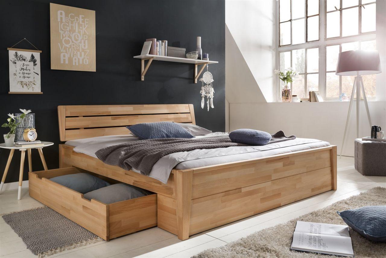 Holzbett massiv 180x200  Massivholzbett Schlafzimmerbett RENO Bett Kernubuche massiv 180x200 ...
