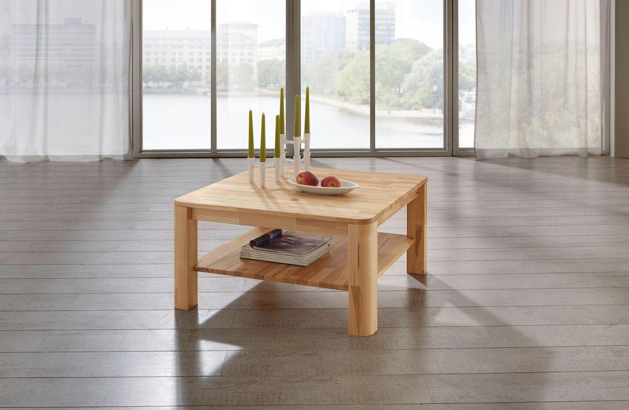 Couchtisch Tisch Fred Eiche Vollmassiv Echtholz 80 X 80 Cm