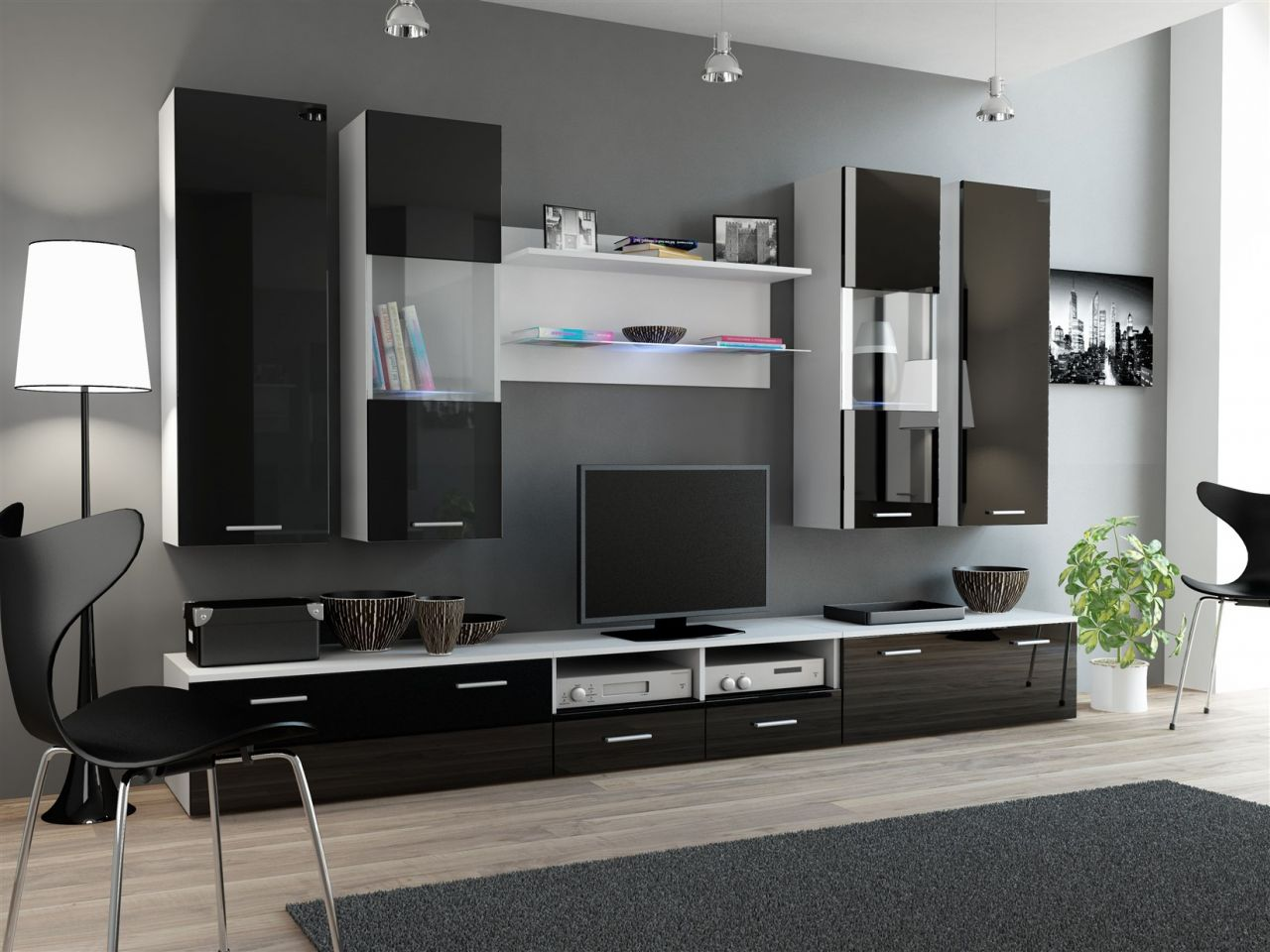 wohnwand mediawand 8 tlg wall 2 weiss schwarz. Black Bedroom Furniture Sets. Home Design Ideas