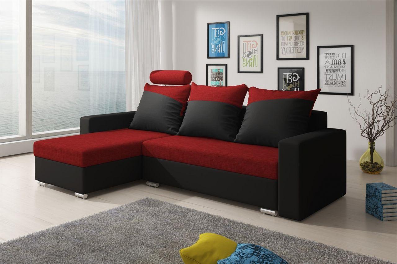 ecksofa sofa nora mit schlaffunktion schwarz rot. Black Bedroom Furniture Sets. Home Design Ideas