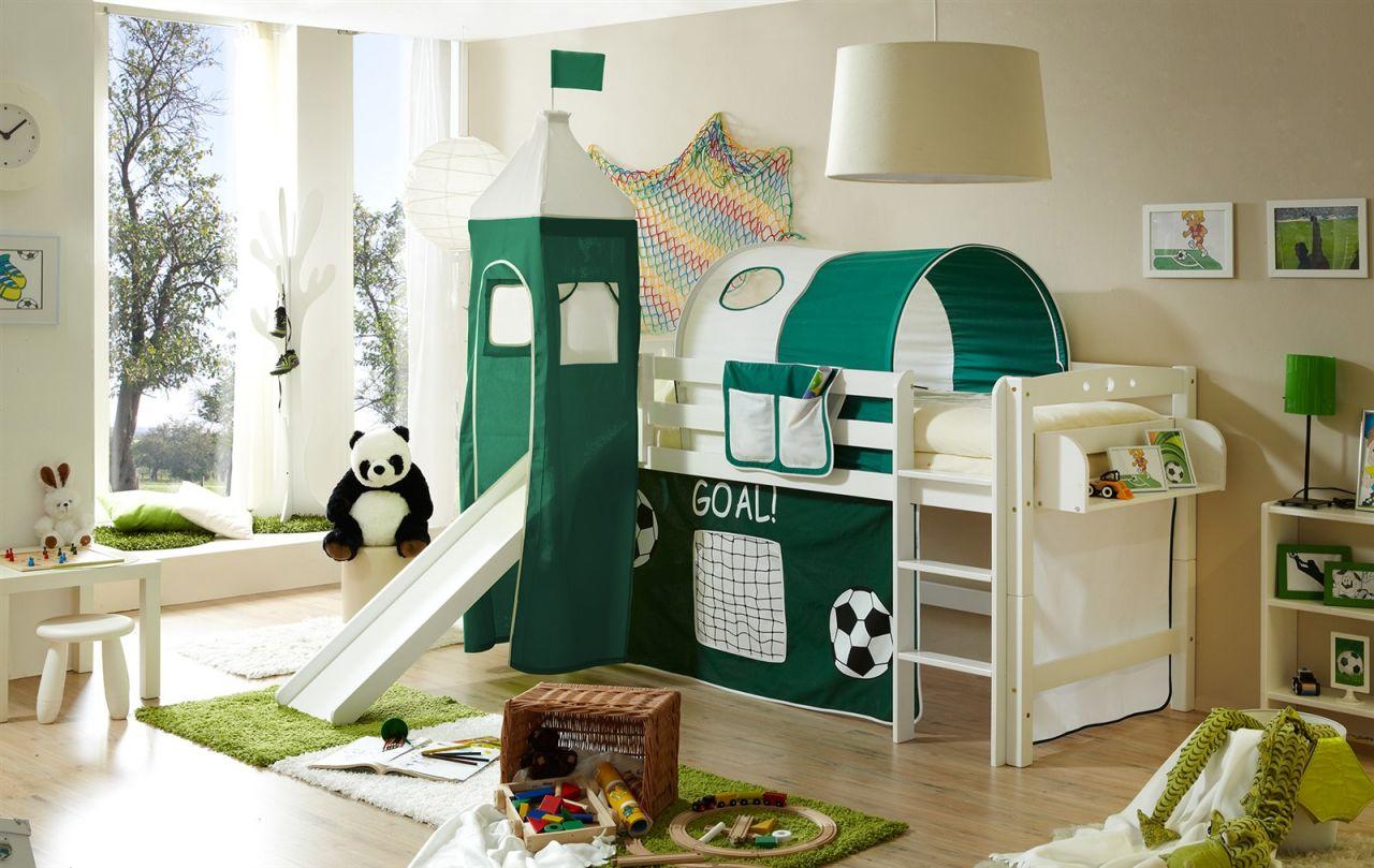 Rutschbett Hochbett weiß mit Rutsche Spielbett Vorhang Turm und Tunnel Fußball