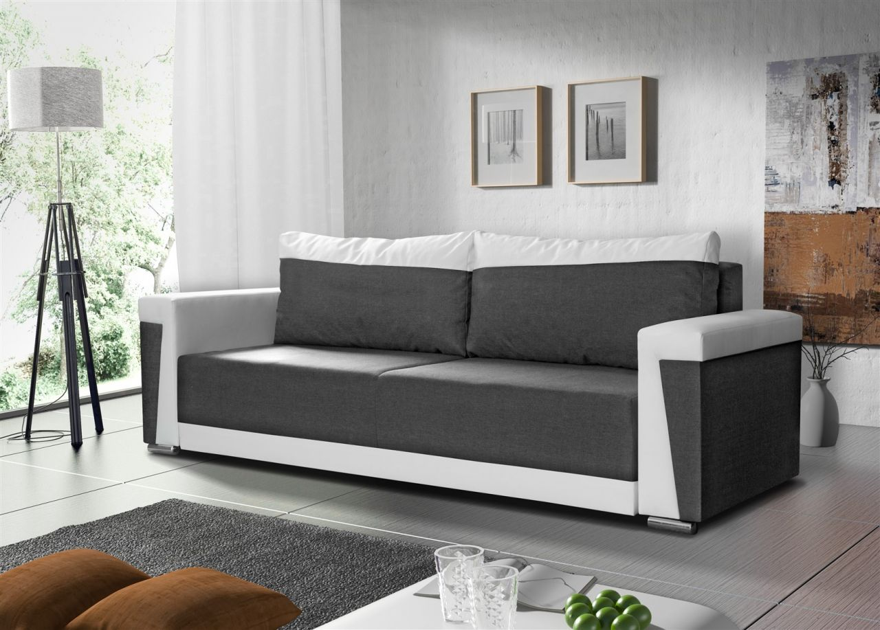sofa schlafsofa inklusive bettkasten lotta weiss grau. Black Bedroom Furniture Sets. Home Design Ideas