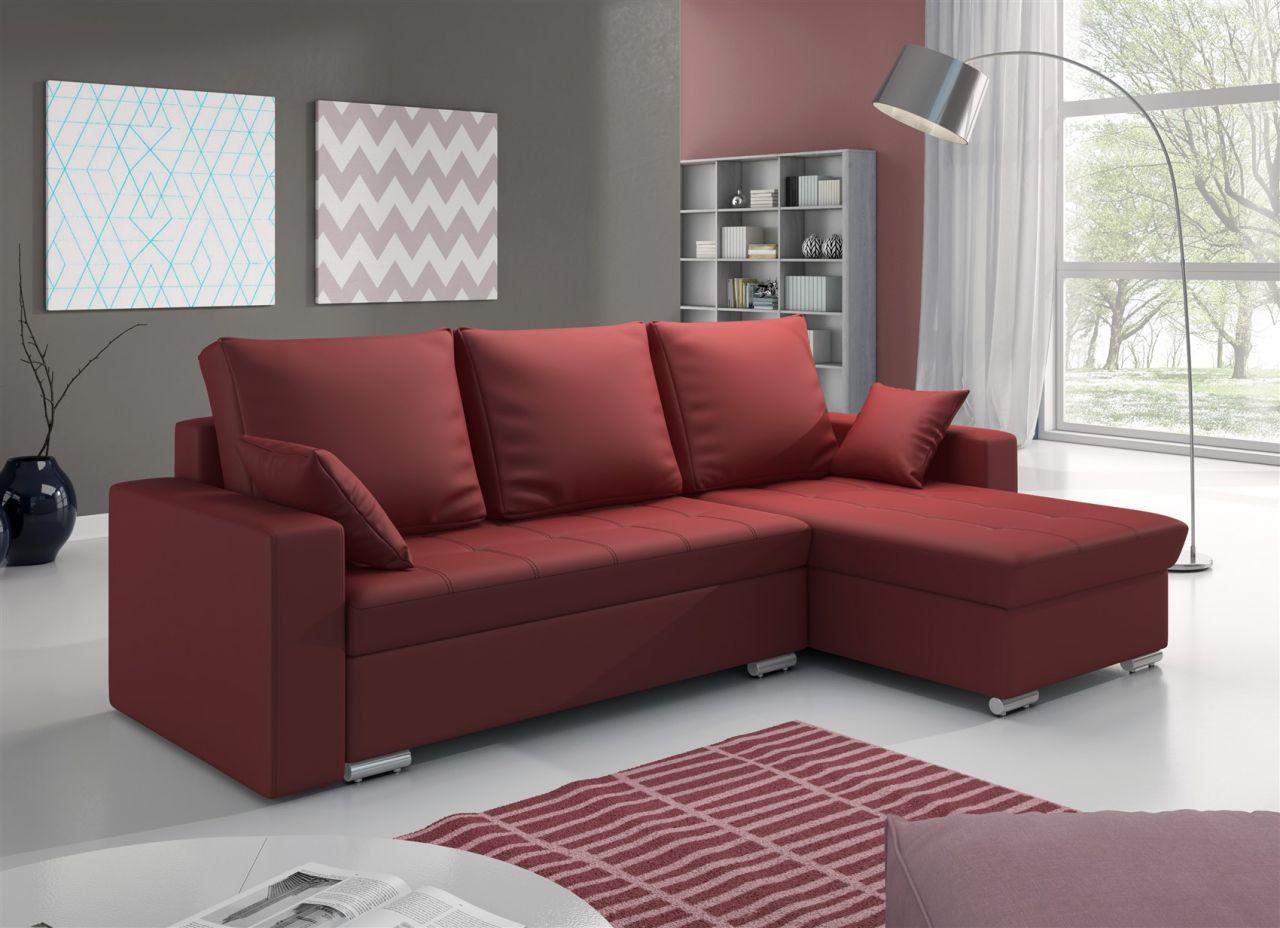 ecksofa sofa adara mit schlaffunktion kunstleder rot. Black Bedroom Furniture Sets. Home Design Ideas