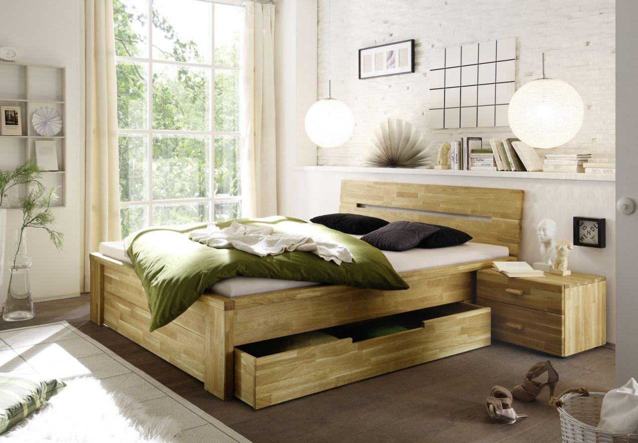 Massivholzbett Schlafzimmerbett - RONI - Bett Wildeiche 140x200 cm ...