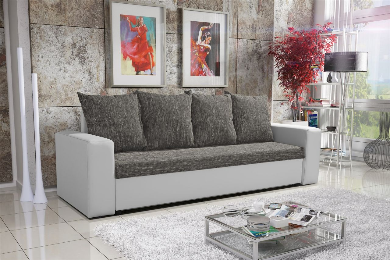 sofa schlafsofa inklusive bettkasten nina weiss grau. Black Bedroom Furniture Sets. Home Design Ideas